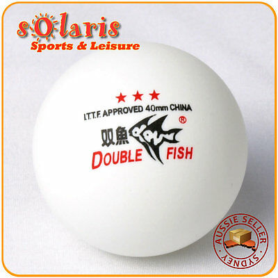 6x Genuine Double Fish White 40mm 3-Star Table Tennis Balls ITTF Approved