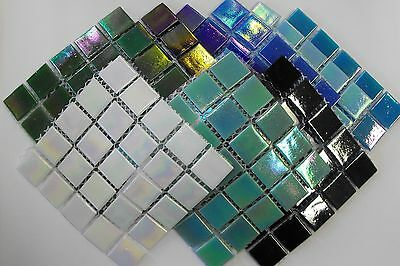 Iridescent mosaic tiles - 2cm x 2cm - Strip of 75 tiles - Choice of colours
