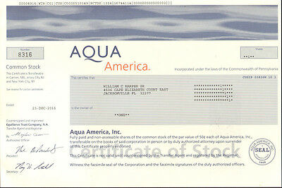 Aqua America > collectible water utility stock certificate