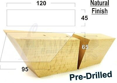 4x PRE DRILLED NATURAL FURNITURE FEET/LEGS FOR SOFA, CHAIRS, SETTEES, STOOLS