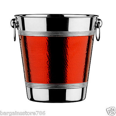 New Stainless Steel Ice Hammered Red Band Bucket Wine Cooler Champagne Cooler