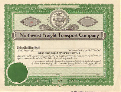 Northwest Freight Transport Company   Oregon stock certificate state seal share