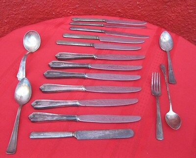 17 Pc Mixed Lot Silver Plate Flatware Fairfield England Fork Spoon Ladle Knife✞