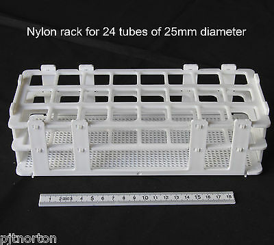NylonTest tube storage rack stand holder for 24 Tubes of 25mm diameter NEW