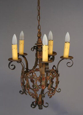 1920s Spanish Revival Mediterranean Chandelier With Polychrome Finish (3505)