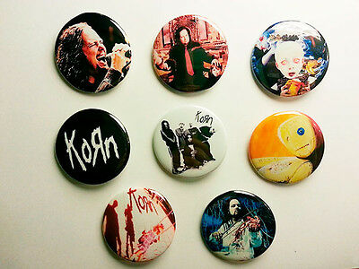 8 piece lot of Korn pins buttons badges