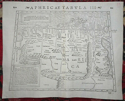 Antique Map SEBASTIAN MÜNSTER Munster Muenster EGYPT AFRICA Basel Switzerl C1550