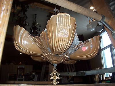 Deco 5 Slipper shade chandelier complete   (LT 259)