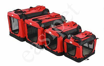 Fabric Soft Pet Crate Kennel Cage Carrier House Dog Cat Red New