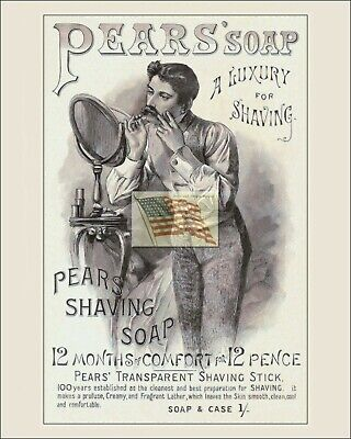 REPRINT PICTURE of old PEARS' SOAP ad 1886 man shaving at mirror stand 8x10