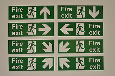Fire Exit Sign With Choice of Directional Arrow 1mm Semi-Rigid Plastic 300x100mm