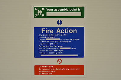 Your Assembly Point Is Fire Action Sign With/Without Holes Or Sticker 200x150mm