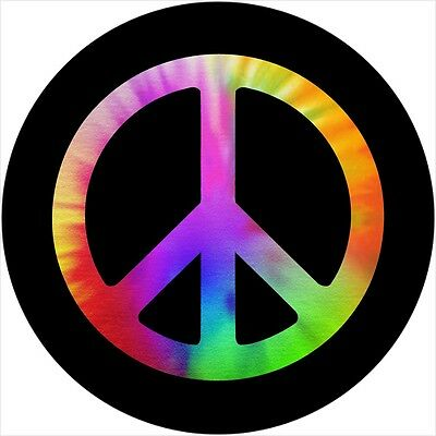 Peace #2 tie dye Spare Tire Cover Jeep RV VW Camper Trailer etc(all sizes avail)