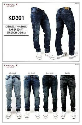 2317a06f5ac K Men s Distress Washed TAPERED FIT Stretch Jeans Pants Size 30 - 38