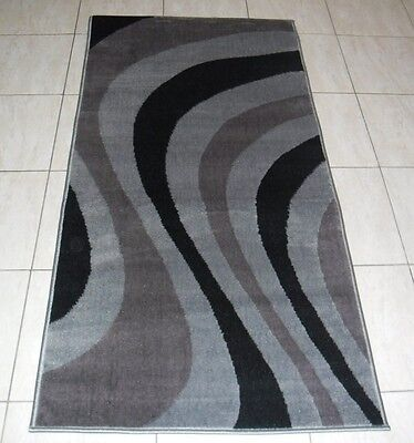New Modern Grey/black Hallway Runner Floor Rug 80X150Cm