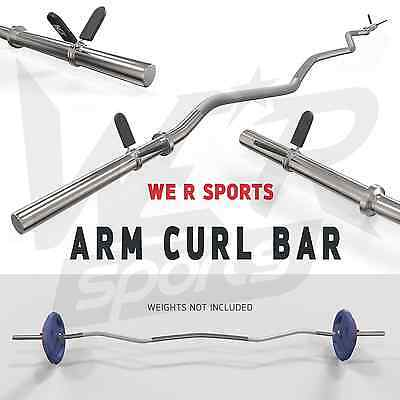 "Arm Curl Bar Weight Lifting With Spring Collars Home Gym Fitness EZ 1"" Barbell"
