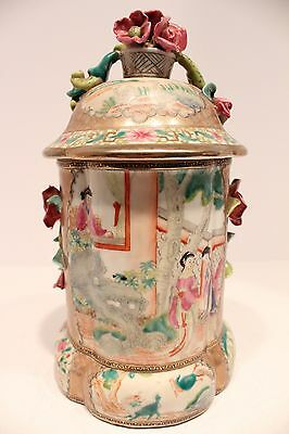 Unique Vintage Famille Rose Chinese Porcelain Jar with Rose Accents