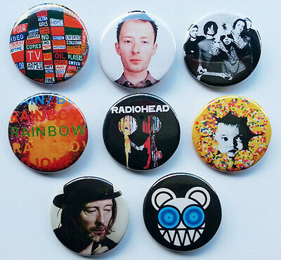 8 piece lot of Radiohead/Tom Yorke pins buttons badges