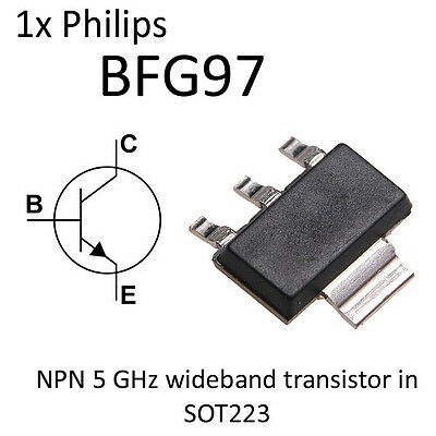 1x BFG97 5GHz Wideband NPN Transistor in SOT223 NOS Philips Semiconductor