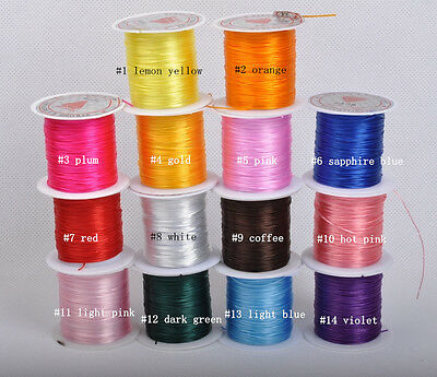 1roll 10yards Strong Elastic Stretchy Beading Thread Cord for Bracelet 14colors