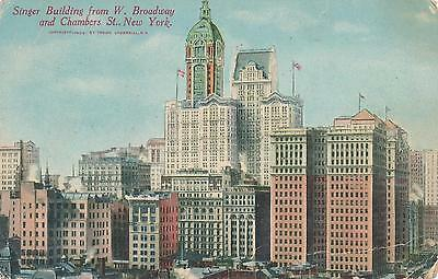 AK, USA, New York, Singer Building from W. Broadway, (G)