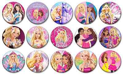 """BARBIE - Lot of 15 - Pin Back - 1"""" Buttons Badges  (One Inch)"""