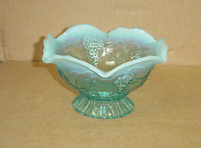 EAPG BLUE OPALESCENT FOOTED VINTAGE BOWL NORTHWOOD DUGAN JEFFERSON GLASS 1908