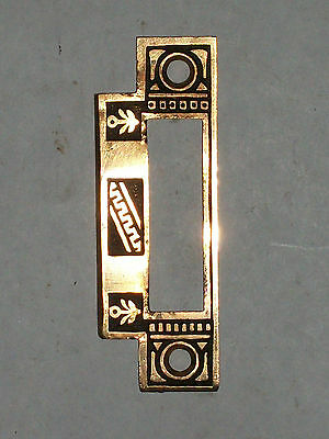 Antique Eastlake Door Strike Flower and Greek Pattern in Brass