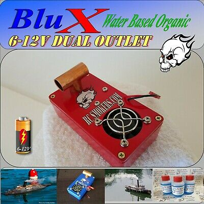 RC Smoke Generator BluX Water Based Two Dual Outlet 6-12 Volt boats trucks Tanks