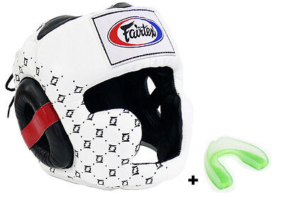 New Fairtex  HGL13 Full head Coverage Head Guard Boxing Headgear black red white