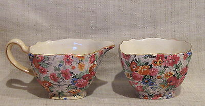BCM Lord Nelson Ware Marina Chintz Open Sugar Bowl and Creamer