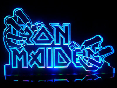 Iron Maiden Hand Heavy Metal LED Desk Lamp Night Light Beer Bar Man cave Signs