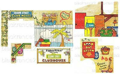 Vintage Fisher Price Little People 937 Sesame St Clubhouse Replacement Lithos