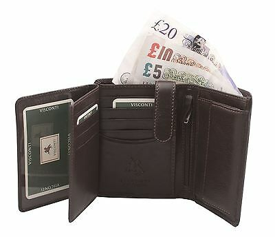 Visconti Mens Genuine Leather Trifold Wallet Real Boxed BRIXTON HT11