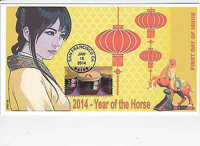 Jvc Cachets -2014 Year Of The Horse Issue  First Day Cover Fdc Topical Event #2