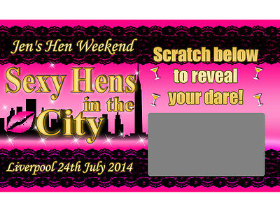 10 x Personalised SEXY HENS IN THE CITY DARE SCRATCH CARDS Hen Do Party sex Game
