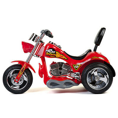 12V Battery Powered Kids Ride On Toy Chopper Motorcycle Car 3 Wheels - Red