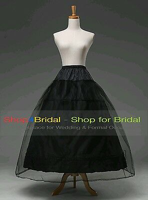 Black A Line 3 HOOP Wedding Bridal Dress Silps Crinoline Petticoat Underskirt