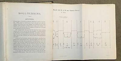 1894 - Roll Turning for Sections in Steel and Iron - large folding plans -  rare