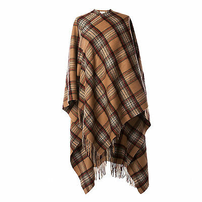 EDINBURGH LAMBSWOOL 100% Luxury Lambswool Ladies Cape Tartan Stewart Camel