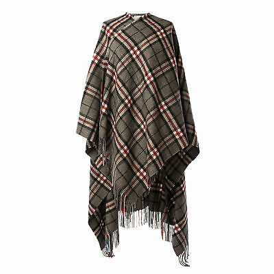 EDINBURGH LAMBSWOOL 100% Luxury Lambswool Ladies Cape Tartan Thomson Grey