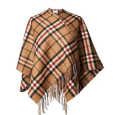 EDINBURGH LAMBSWOOL 100% Lambswool Girls & Ladies Cape Tartan Thomson Camel