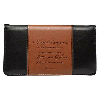 Checkbook Cover Be Strong and Courageous Black and Brown Faux Leather, Free Ship