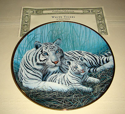 MICHAEL MATHERLY Big Cat Color Is Lack Red & Yellow Pigments WHITE TIGERS Plate