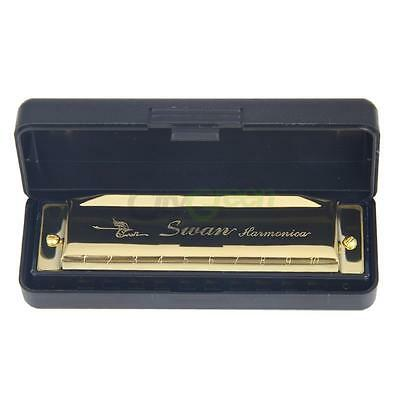 New Swan Metal C Key 10 Holes Harmonica Silver with Blue Case for Beginner