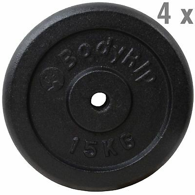 "4 x 15kg CAST IRON 1"" HOLE WEIGHT PLATES DISCS WEIGHTS GYM MUSCLE"