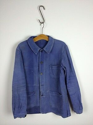 VTG Antique 20s French Workwear work Chore jacket hobo Sun Faded Darned Patched