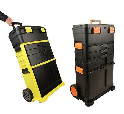 FoxHunter Plastic Mobile Roller Work Shop Chest Trolley Storage Tool Box Toolbox
