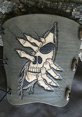 Hand carved skin rip skull leather archery arm guard, bracer,armguard,larp,pagan