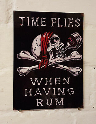 TIME FLIES WHEN HAVING RUM bar Sign Retro metal Aluminium beer signs rum cave